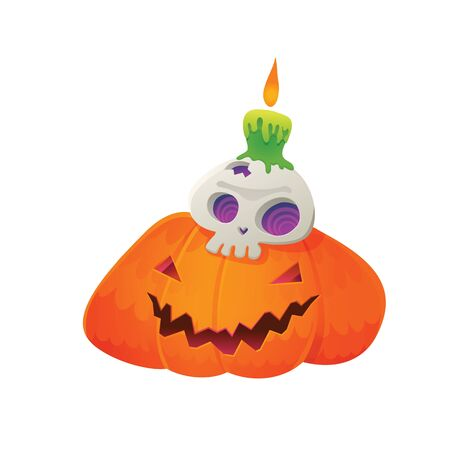 Vector Illustration of Jack-O'-Lantern with Skull and Green Candle for Halloween Vettoriali