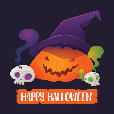 Vector Illustration of Pumpkin Jack-O-Lantern wearing Witch Hat with Skull and Happy Halloween Sign