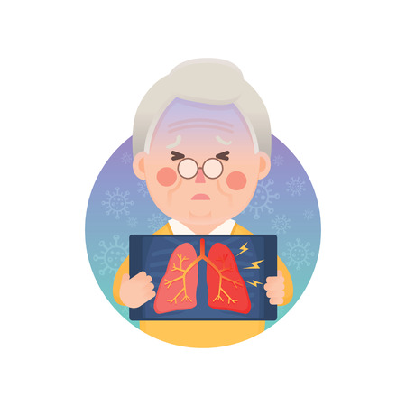 Vector Illustration of Old Man Holding X-ray Image Showing Inflammation Lung Problem, Cartoon Character Vettoriali