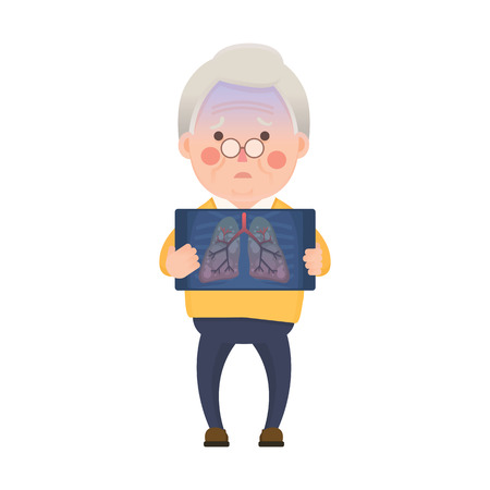 Vector Illustration of Old Man Holding X-ray Image Showing Lung Pulmonary Emphysema Problem, Cartoon Character