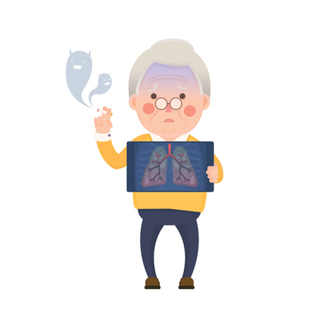 Vector Illustration of Old Man Smoking Cigarette While Holding X-ray Image Showing Lung Pulmonary Emphysema Problem, Cartoon Character, Devil Smoke Vettoriali