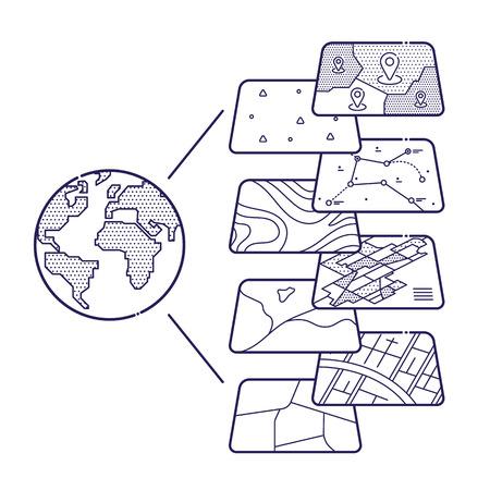 インフォ グラフィック、地理情報システム、アイコン デザイン、ライナー スタイルのための GIS の空間データ レイヤーの概念図  イラスト・ベクター素材
