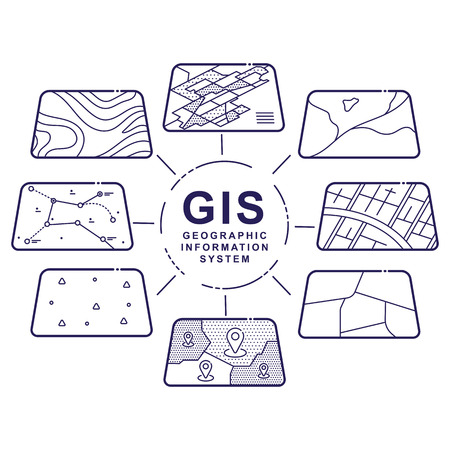 Illustration of GIS Spatial Data Layers Concept for Infographic, Geographic Information System, Icons Design, Liner Style Vettoriali