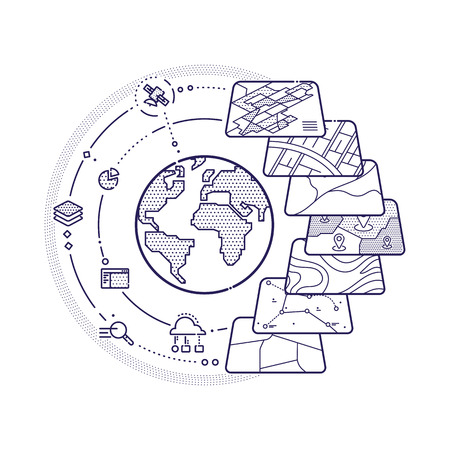 Illustration of GIS Spatial Data Layers Concept for Business Analysis, Geographic Information System, Icons Design, Liner Style
