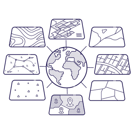 geographic: Illustration of GIS Spatial Data Layers Concept for Infographic, Geographic Information System, Icons Design, Liner Style Illustration