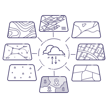 Illustration of GIS Spatial Data Layers Concept for Infographic, Cloud Data Storage, Geographic Information System, Icons Design, Liner Style