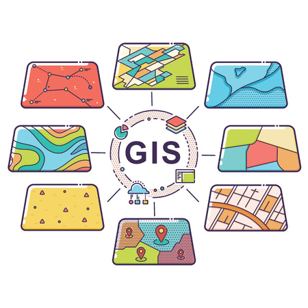 Vector Illustration of GIS Spatial Data Layers Concept for Business Analysis, Geographic Information System, Icons Design, Liner Style 向量圖像