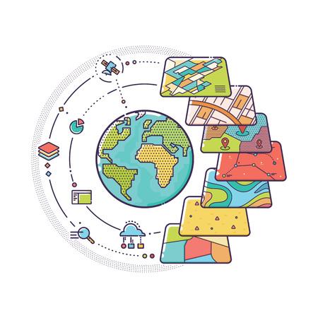 비즈니스 분석, 지리 정보 시스템, 아이콘 디자인, 라이너 스타일에 대한 GIS 공간 데이터 레이어 개념의 벡터 일러스트 레이션