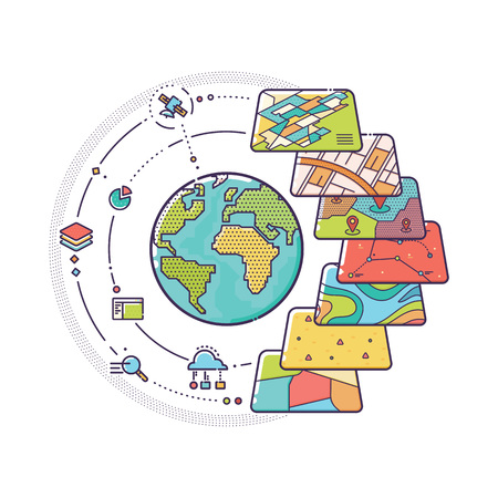 information systems: Vector Illustration of GIS Spatial Data Layers Concept for Business Analysis, Geographic Information System, Icons Design, Liner Style Illustration