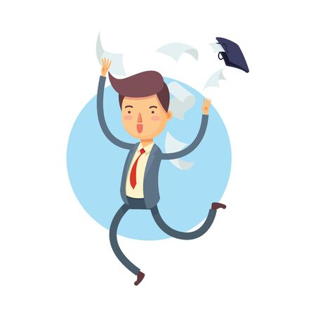 Vector Illustration of Happy Businessman Throw His Bag Away and Document Papers Fly Out, Cartoon Character