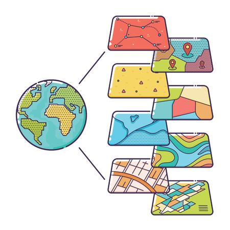 Vector Illustration des couches SIG des données spatiales Concept pour l'analyse d'affaires, Système d'Information Géographique, icônes design, Liner style Banque d'images - 67318622