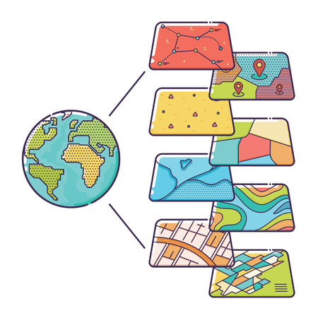 geographic: Vector Illustration of GIS Spatial Data Layers Concept for Business Analysis, Geographic Information System, Icons Design, Liner Style Illustration