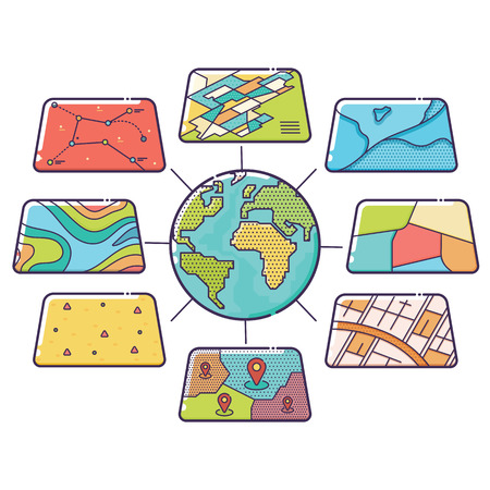 Vector Illustration of GIS Spatial Data Layers Concept for Business Analysis, Geographic Information System, Icons Design, Liner Style Vettoriali