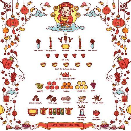 """Illustration Vecteur de chinois Dieu de la richesse """"Tsai Shen Yeh"""" adoraient Offrant Sacrifices Le Nouvel An chinois. Le texte chinois signifie """"Bonne Fortune"""". Style de griffonnage."""