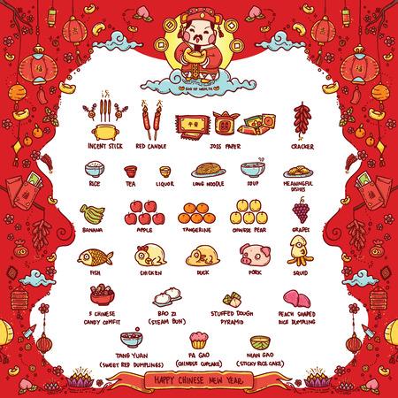 """Ilustración vectorial de Dios chino de la riqueza adorado ofrecer sacrificios en el Año Nuevo chino. El texto en chino significa """"buena fortuna"""". Estilo Doodle. Ilustración de vector"""