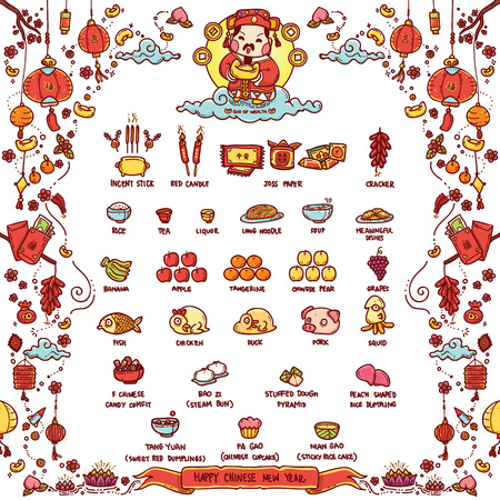 Vector Illustration of Chinese God of Wealth Worshiped Offering Sacrifices On Chinese New Year. The Chinese text means