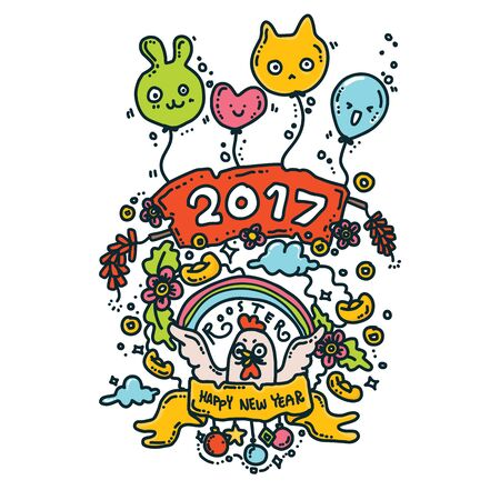 Vector Illustration of Happy New Year 2017 Greeting Card. Rooster Year.Doodle Style Vettoriali