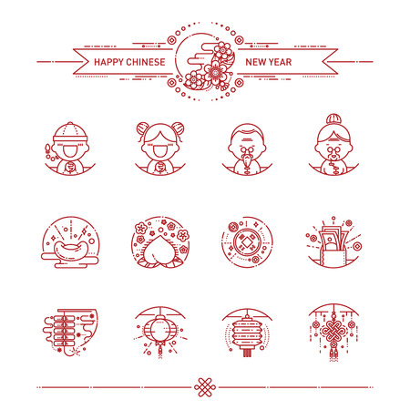Vector Illustration of Happy Chinese New Year Icons Set. Modern Linear Style. Ilustrace
