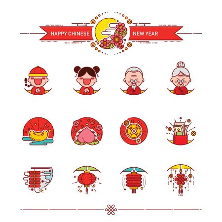 Vector Illustration of Happy Chinese New Year Icons Set. Modern Linear Style. Vettoriali