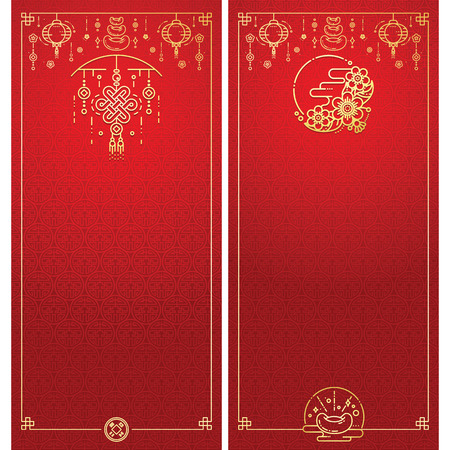 Vector Illustration of Chinese New Year Greeting Card. Modern Linear Style. Vettoriali