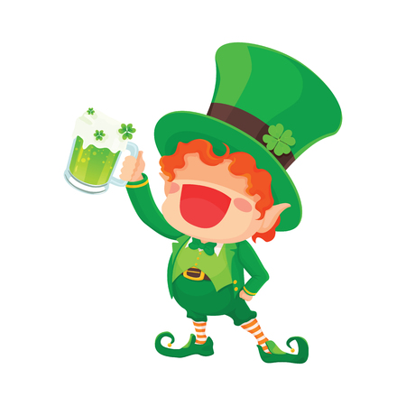 cup four: Vector Illustration of St. Patricks Day Happy Leprechaun With Mug of Green Beer for Greeting Card.