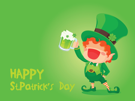 Vector Illustration of St. Patricks Day Happy Leprechaun With Mug of Green Beer for Greeting Card.