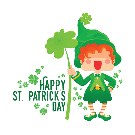 Illustration of St. Patrick's Day Happy Leprechaun with Four Leaf Shamrock. Lucky Clover. for Greeting Card.