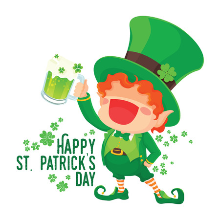 St. Patrick's Day Happy Leprechaun with Mug of Green Beer for Greeting Card. Vettoriali