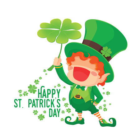 Happy St. Patricks Day.  Happy Leprechaun with Four Leaf Shamrock. Lucky Clover. for Greeting Card.
