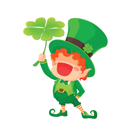 Illustration of happy  St. Patrick's Day Happy Leprechaun with Four Leaf Shamrock. Lucky Clover. for Greeting Card.
