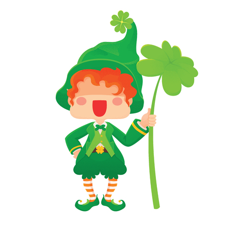 Lucky Clover. Illustration of St. Patrick's Day Happy Leprechaun with Four Leaf Shamrock. . for Greeting Card.