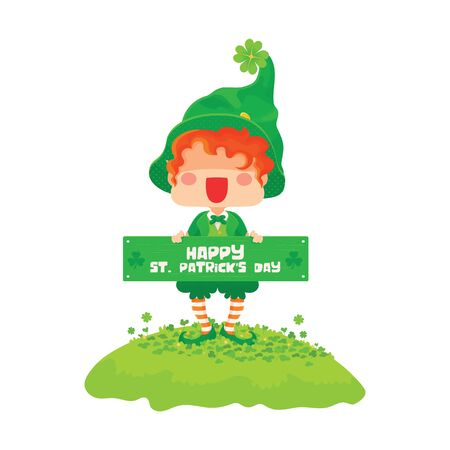 Vector Illustration of St. Patricks Day Happy Leprechaun with Greeting Sign.