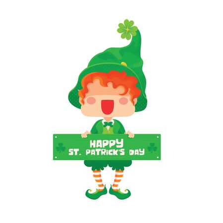 Illustration vector of St. Patricks Day Happy Leprechaun with Greeting Sign for Greeting Card