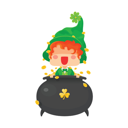 Vector Illustration of St. Patrick's Day Happy Leprechaun with Greeting Sign. Vettoriali
