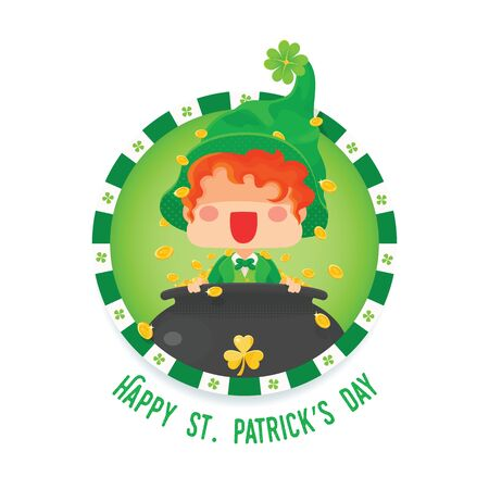 Vector Illustration of St. Patrick's Day Happy Leprechaun with Pot of Gold Coins for Greeting Card.
