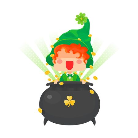 Vector Illustration of St. Patricks Day Happy Leprechaun with Pot of Gold Coins for Greeting Card.