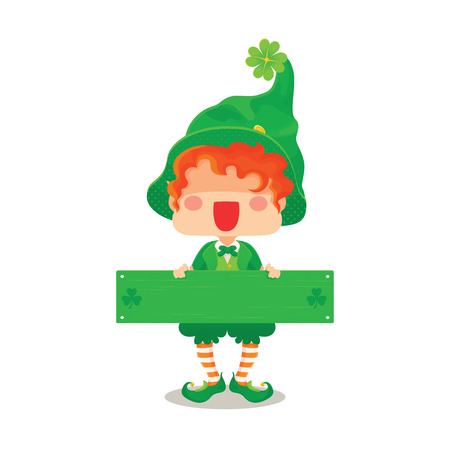 Vector Illustration of St. Patrick's Day Happy Leprechaun with Greeting Sign for Greeting Card