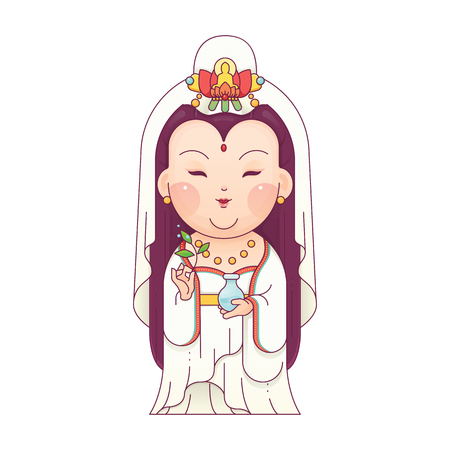 Vector Illustration of Guanyin the Goddess of Mercy. Chinese Goddess. Cartoon Character. Vettoriali