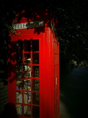 phonebox: Mini library in an old red phone-box, Lewisham, London
