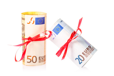 kink: fifty and twenty euro bill with red kink isolated