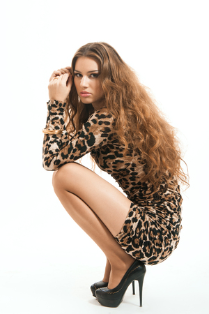 Fashion portrait of young brunette girl in leopard dress
