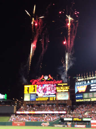 Cardinals win. Fireworks at Busch Stadium 2012 Stock Photo