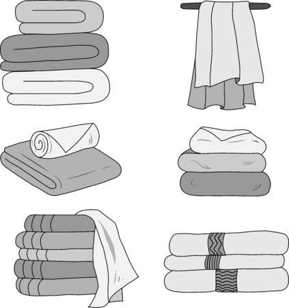 Eine Reihe von Vektorhandtüchern im Badezimmer oder Spa in Grautönen. Elemente für Visitenkarten, Werbung, Broschüren, Symbole. Vektorgrafik