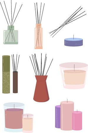 A set of vector incense sticks and aromatic candles in pleasant and soothing colors. Set of spa items. Elements for design. Illustration