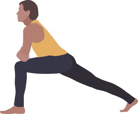 A vector isolated illustration of a man, practicing yoga or aerobics on a white background