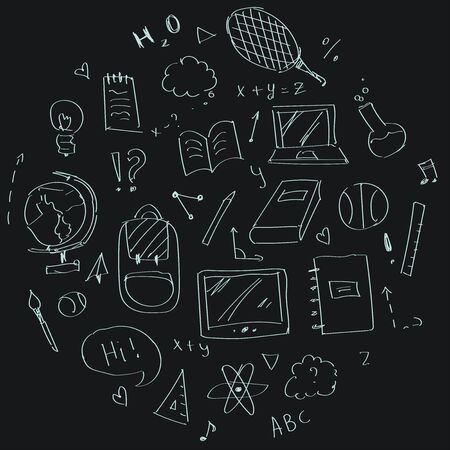 Set of hand-drawn items on a blackboard backgroung filled in a round shape. Back to school in a doodle style.