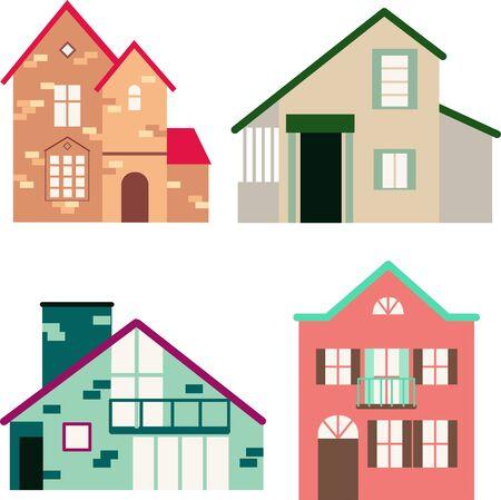 Vista frontale della casaSet di illustrazioni vettoriali di case colorate. Edifici viventi, architettura del villaggio. Vettoriali