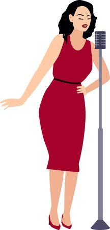 Un vecteur isolé illustration d'un chanteur de jazz. Femme en robe rouge, aux cheveux noirs chante avec un microphone sur un support. Vecteurs