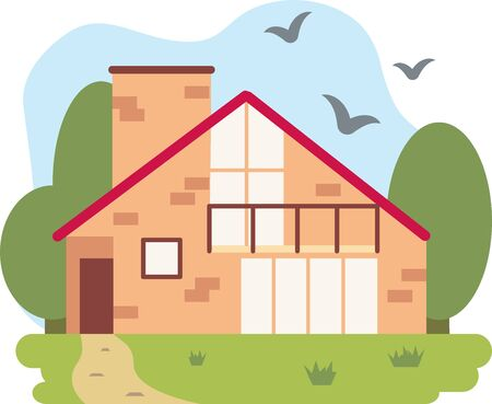 A vector illustration of a house with a red roof, holiday mansion, cottage, hotel, guest house. Facades of real estate, house brick, landscape, and vegetation. building for rent or sale
