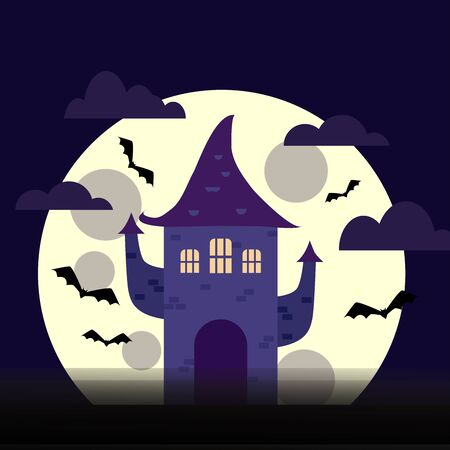 A vector Halloween illustration of vampires or witches castle in a cartoon style. Purple colors, bats and a big moon on a background.